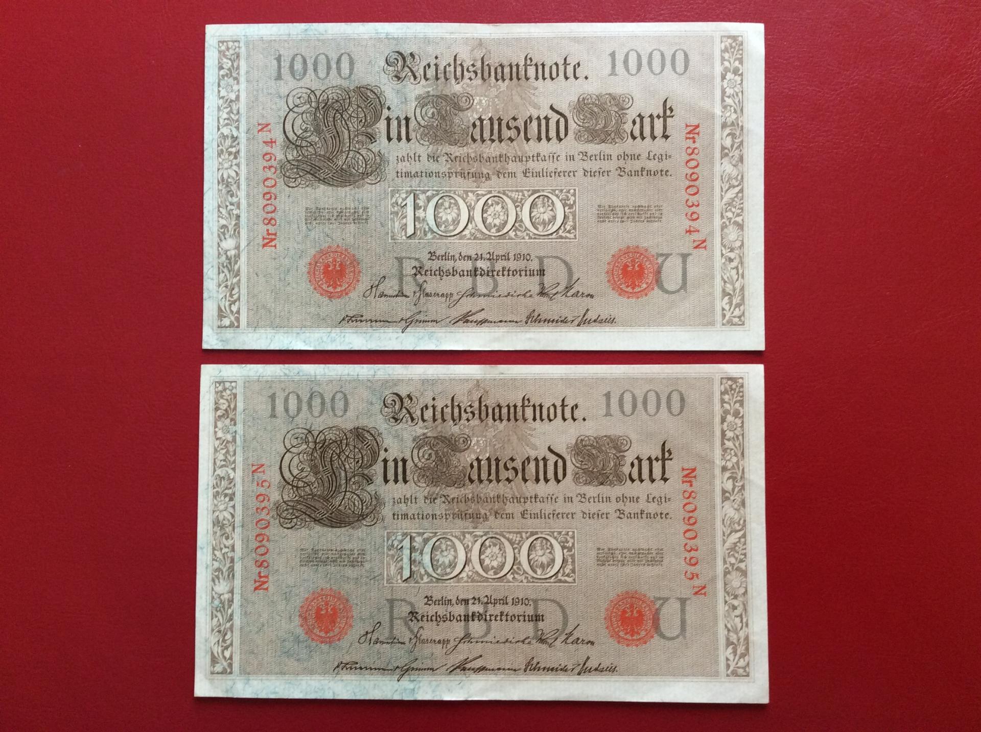 1000 MARK 1910 - BERLÍN ALEMANIA - REICHSBANKNOTE - PAREJA CORRELATIVA