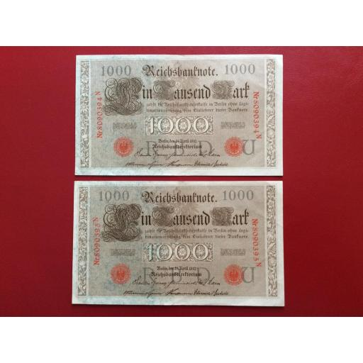 1000 MARK 1910 - BERLÍN ALEMANIA - REICHSBANKNOTE - PAREJA CORRELATIVA