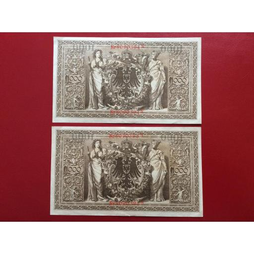 1000 MARK 1910 - BERLÍN ALEMANIA - REICHSBANKNOTE - PAREJA CORRELATIVA  [1]