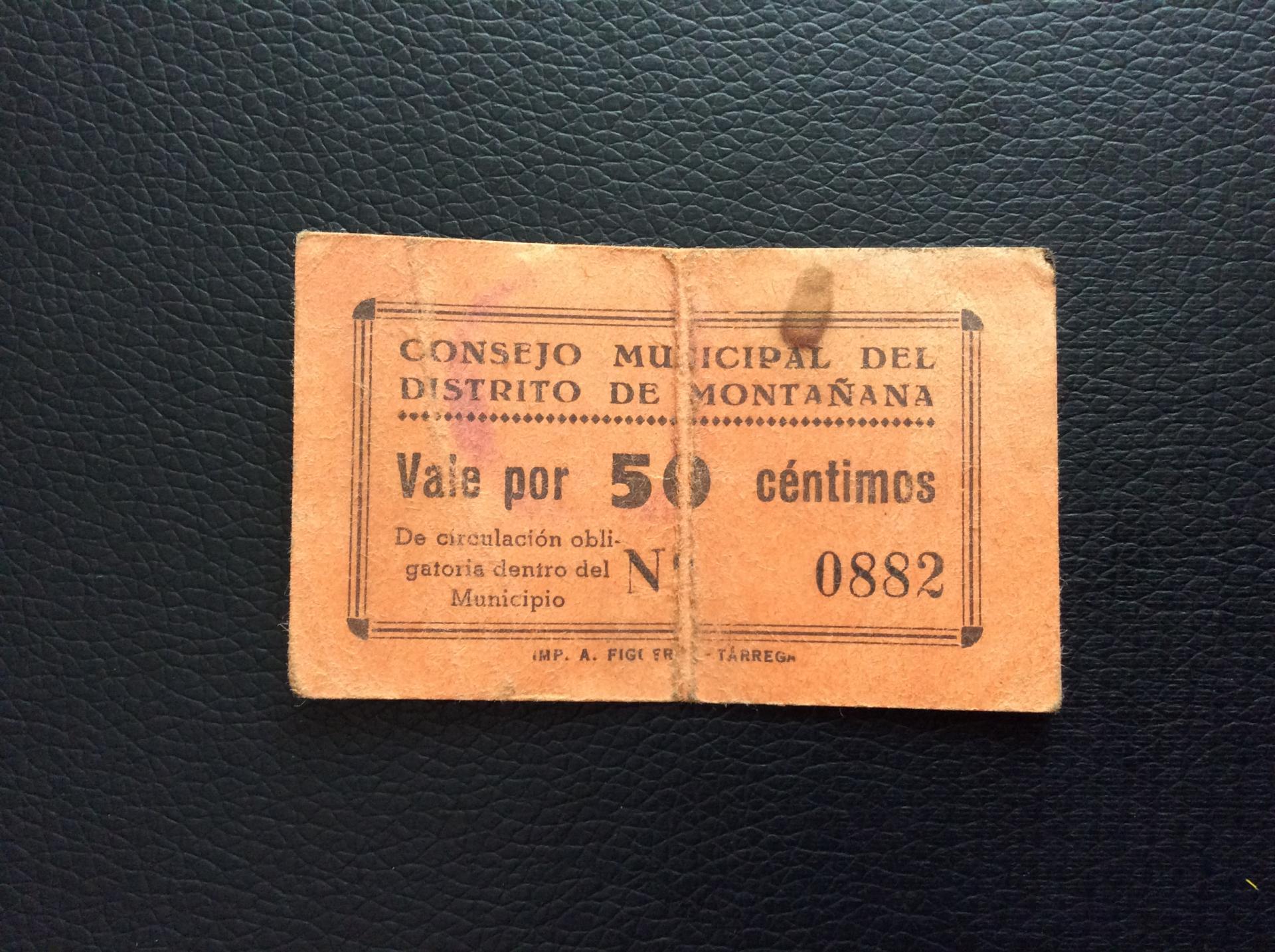 50 CÉNTIMOS CONSEJO MUNICIPAL DEL DISTRITO DE MONTAÑANA - HUESCA - RARO Y MUY ESCASO
