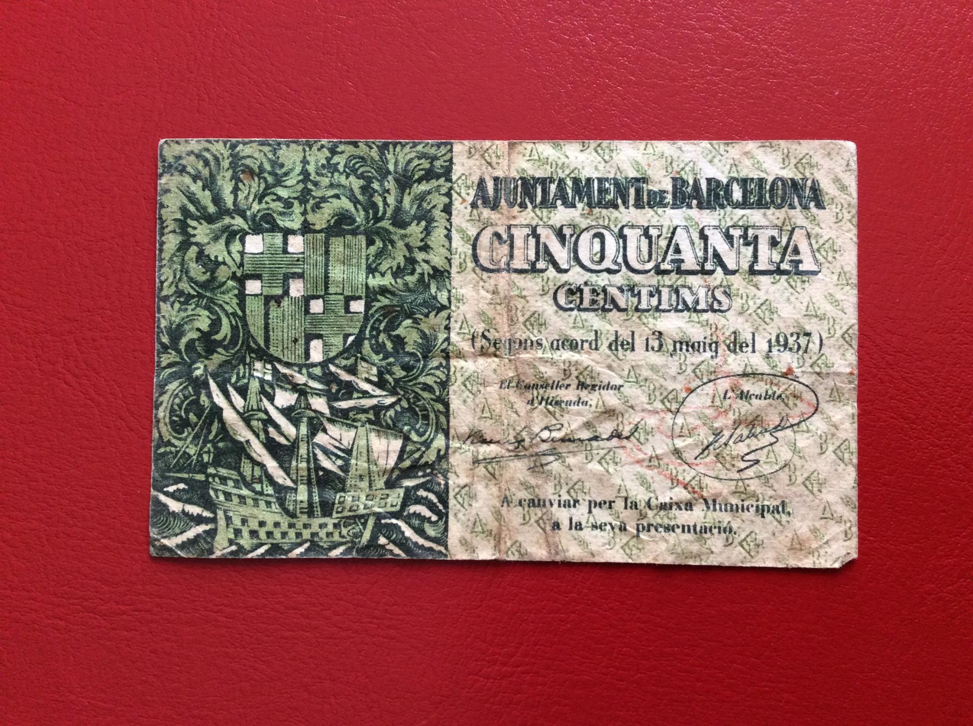 50 CÉNTIMOS 1937 - AJUNTAMENT DE BARCELONA