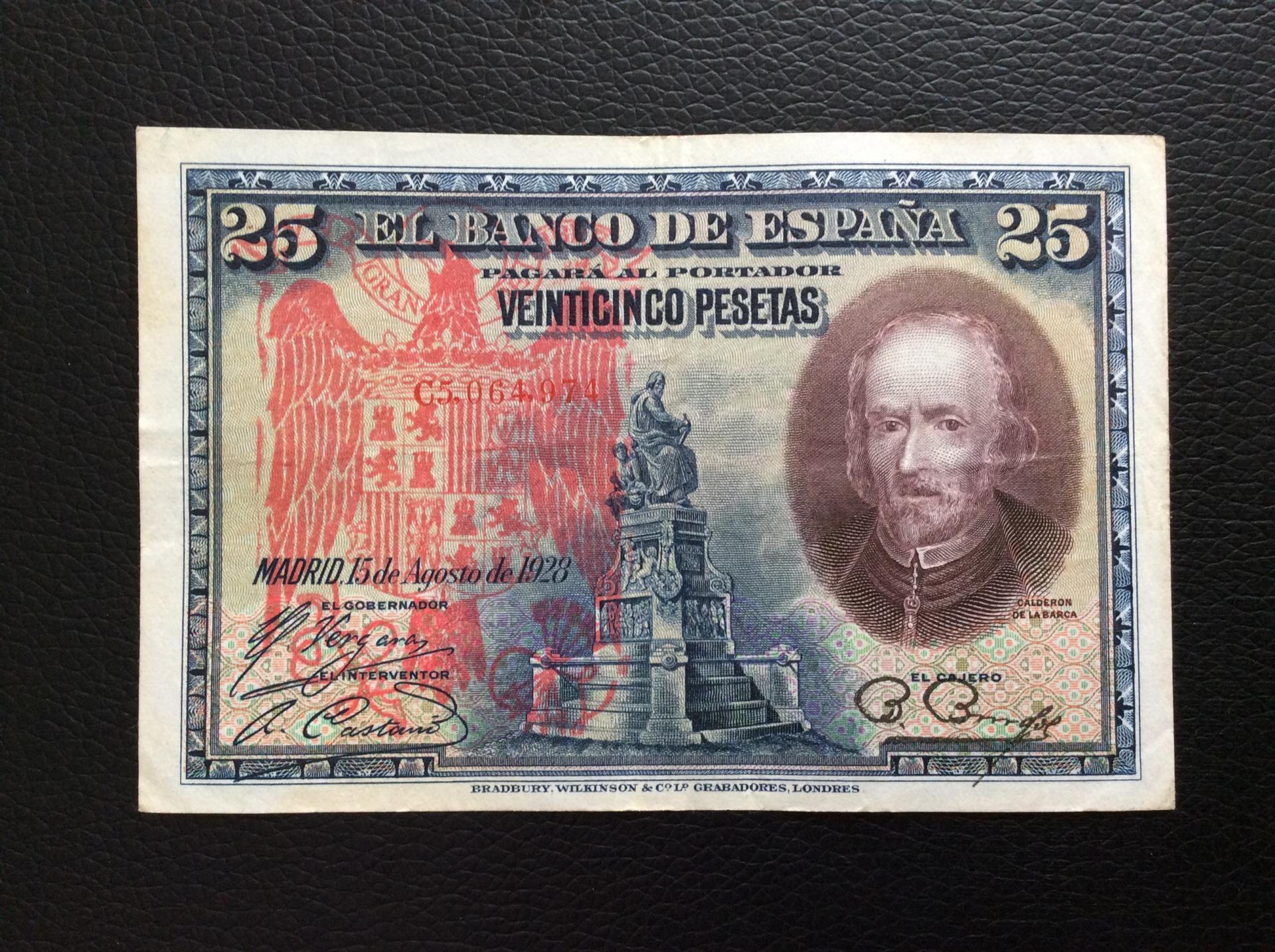 25 PESETAS 1928 - SELLO ROJO AGUILA DE SAN JUAN - CALDERÓN DE LA BARCA
