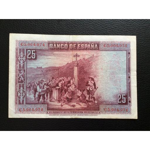 25 PESETAS 1928 - SELLO ROJO AGUILA DE SAN JUAN - CALDERÓN DE LA BARCA [1]