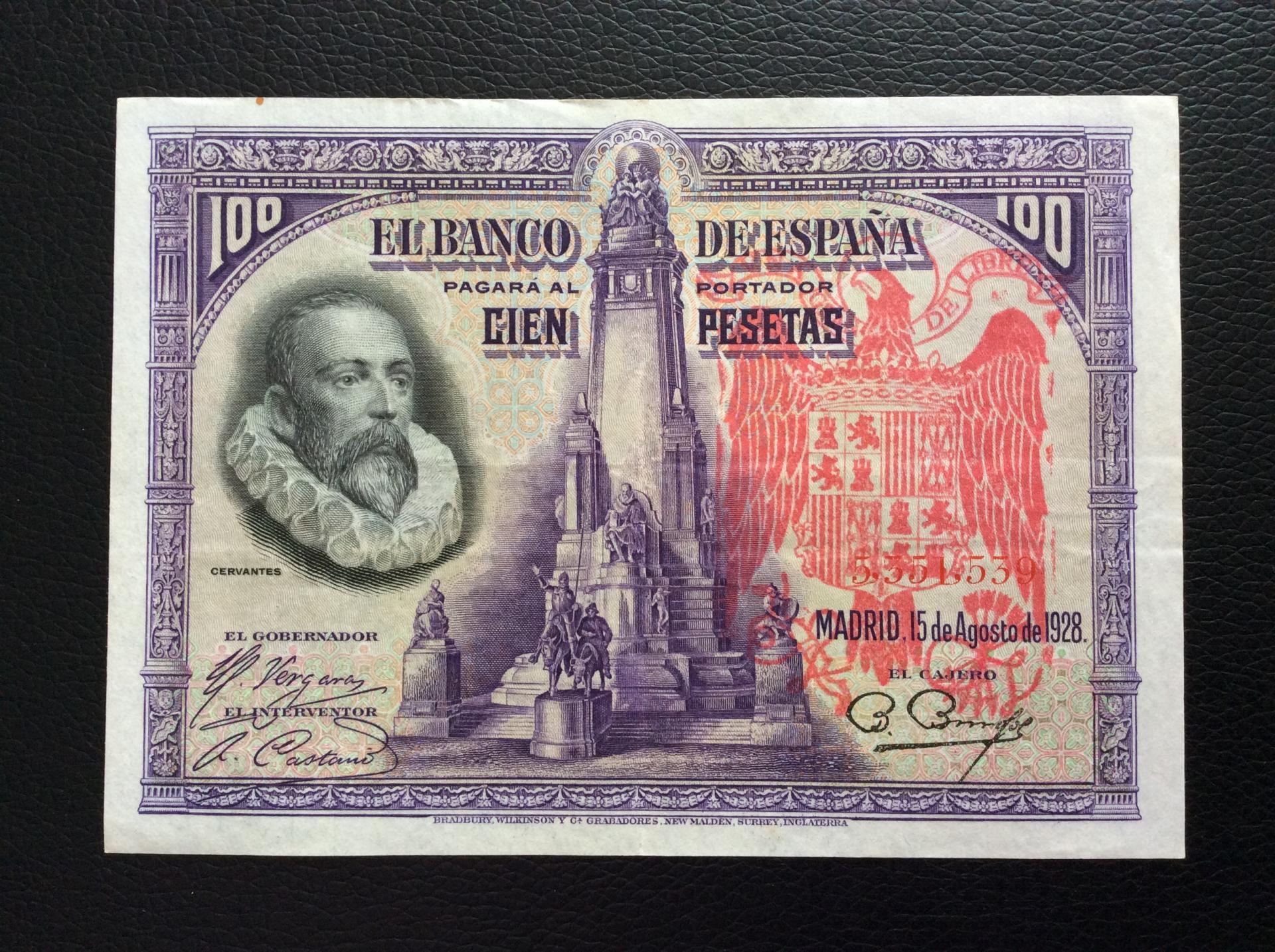 100 PESETAS 1928 - SELLO ROJO AGUILA DE SAN JUAN - CERVANTES