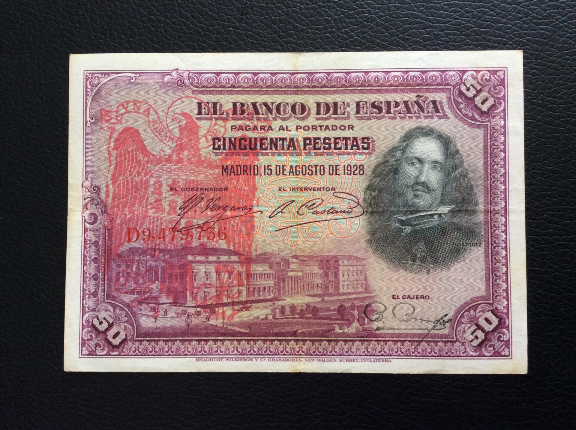50 PESETAS 1928 - SELLO ROJO AGUILA DE SAN JUAN - VELÁZQUEZ