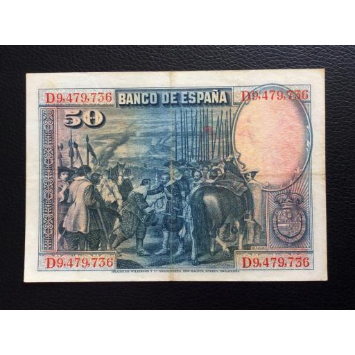 50 PESETAS 1928 - SELLO ROJO AGUILA DE SAN JUAN - VELÁZQUEZ  [1]