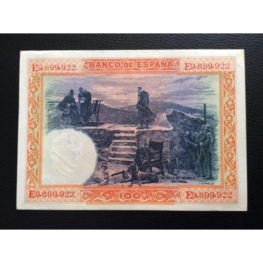 100 PESETAS 1925 - SELLO ROJO AGUILA DE SAN JUAN - FELIPE II  [1]