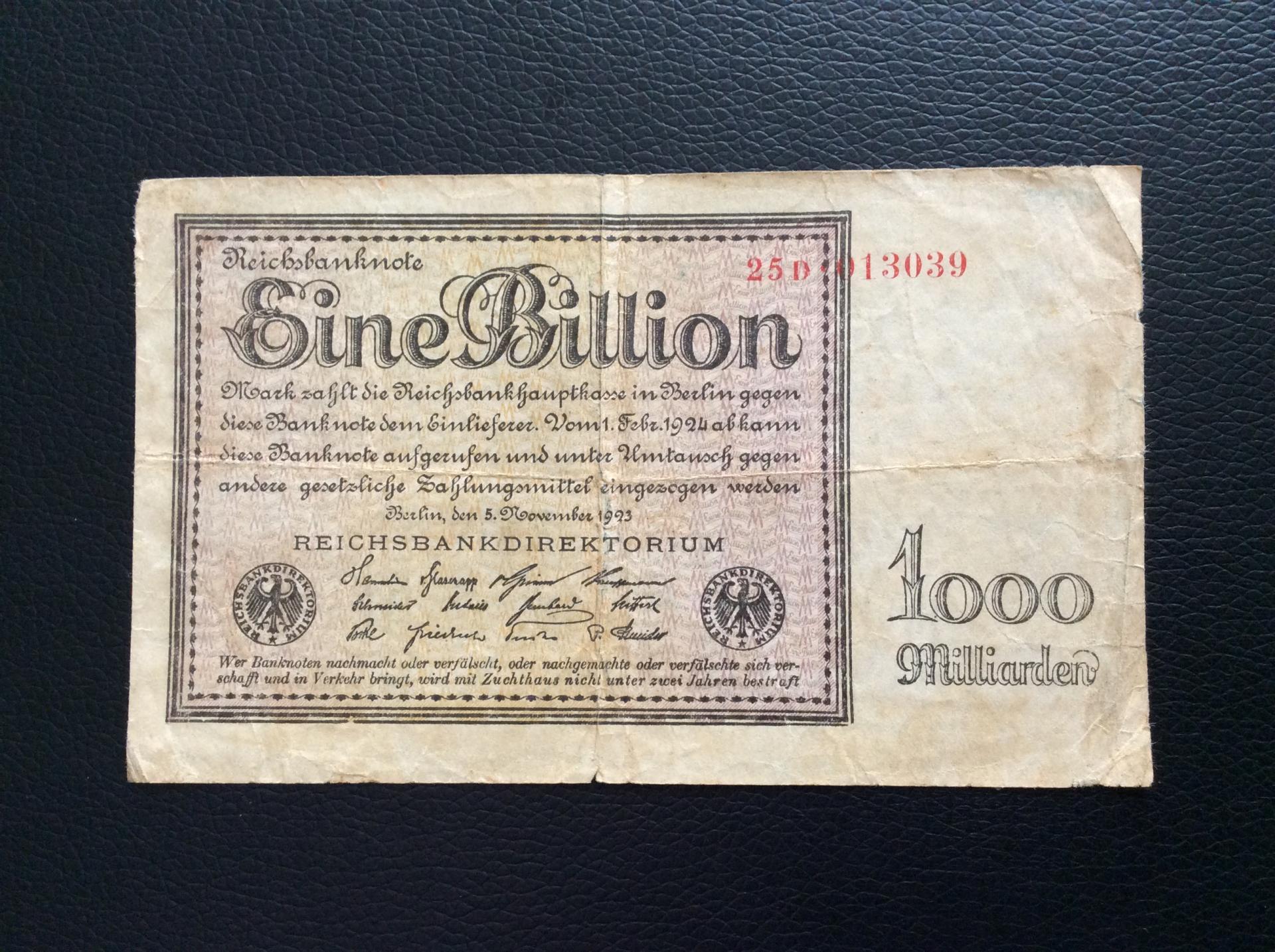 1 BILLION MARK 1923 - BERLÍN ALEMANIA - REICHSBANKNOTE