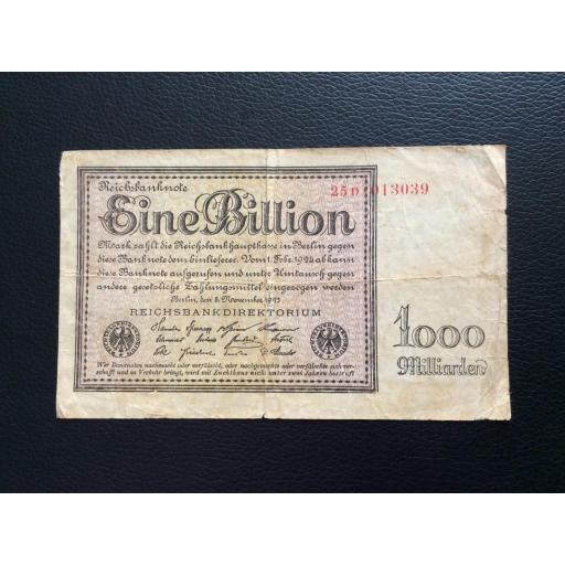1 BILLION MARK 1923 - BERLÍN ALEMANIA - REICHSBANKNOTE