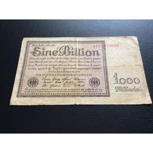 1 BILLION MARK 1923 - BERLÍN ALEMANIA - REICHSBANKNOTE  [2]