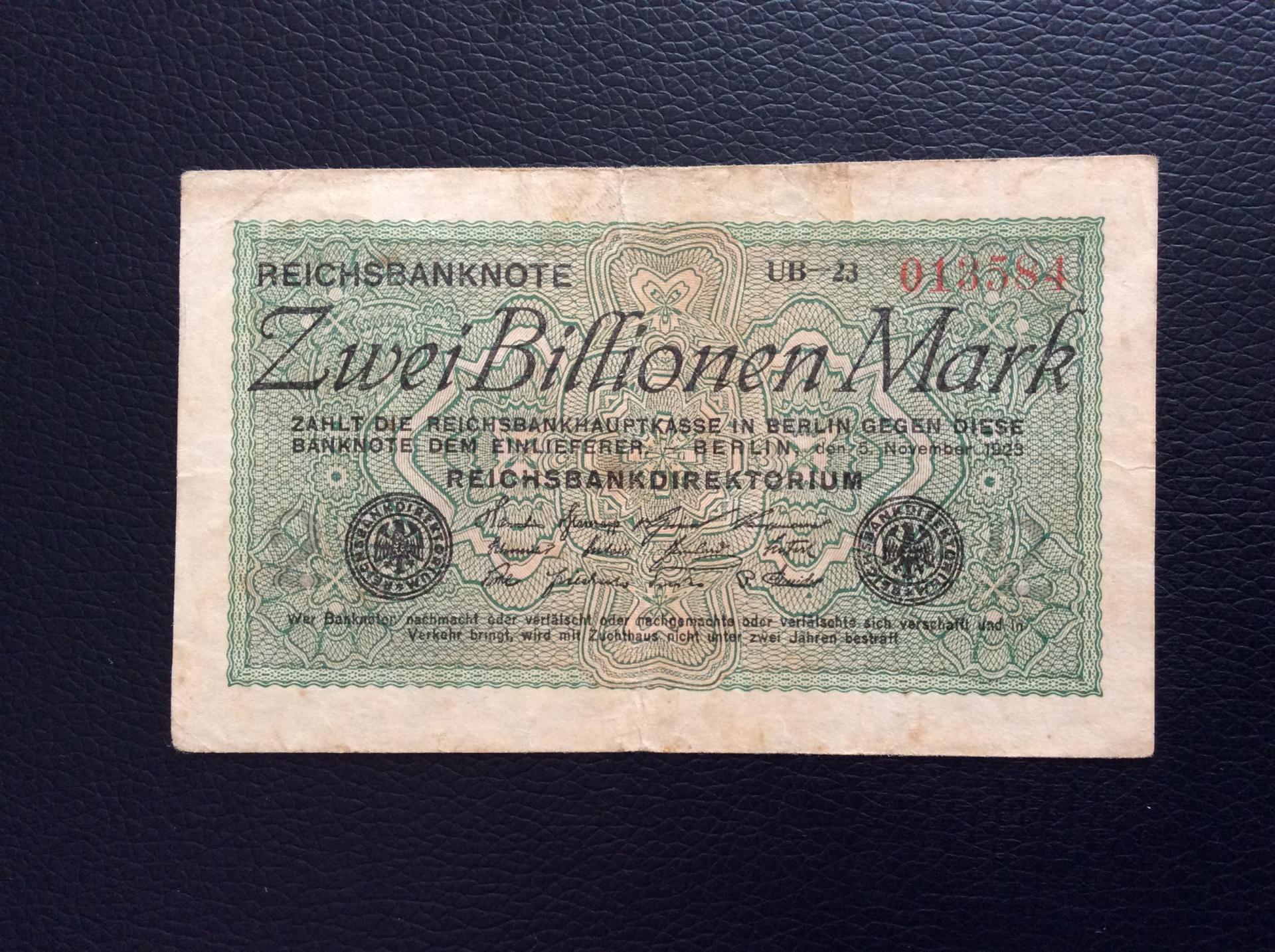 2 BILLIONEN MARK 1923 - BERLÍN ALEMANIA - REICHSBANKNOTE