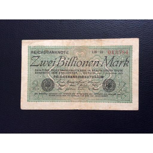 2 BILLIONEN MARK 1923 - BERLÍN ALEMANIA - REICHSBANKNOTE
