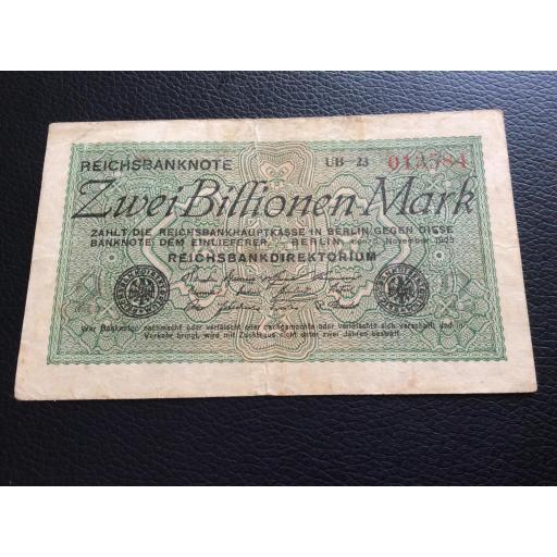 2 BILLIONEN MARK 1923 - BERLÍN ALEMANIA - REICHSBANKNOTE  [2]
