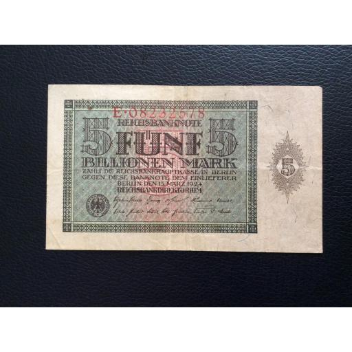 5 BILLIONEN MARK 1924 - BERLÍN ALEMANIA - REICHSBANKNOTE  [1]