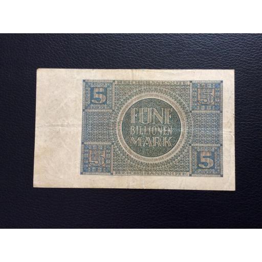 5 BILLIONEN MARK 1924 - BERLÍN ALEMANIA - REICHSBANKNOTE  [2]
