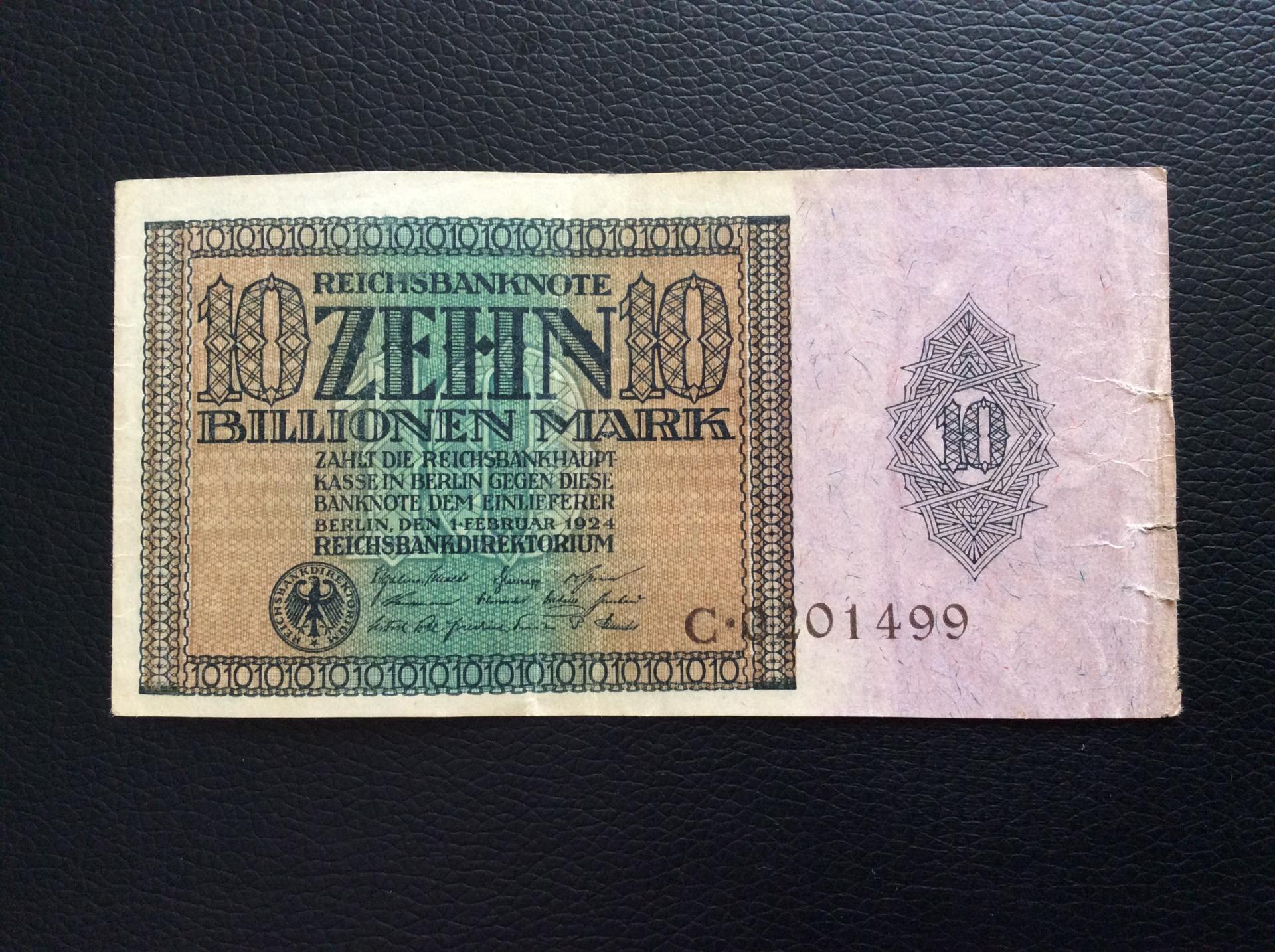 10 BILLIONEN MARK 1924 - BERLÍN ALEMANIA - REICHSBANKNOTE