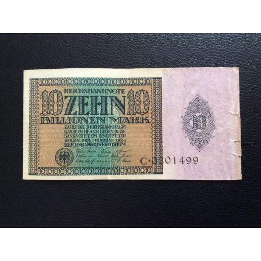 10 BILLIONEN MARK 1924 - BERLÍN ALEMANIA - REICHSBANKNOTE
