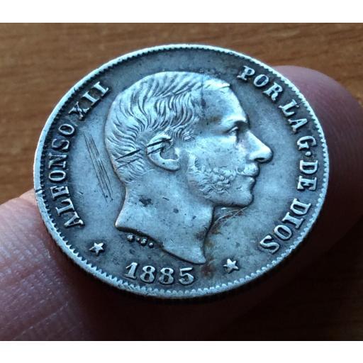 20 CENTAVOS PLATA 1885 - ALFONSO XII - ISLAS FILIPINAS