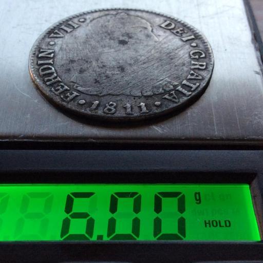 ESCASOS 2 REALES 1811 - FERNANDO VII - BUSTO INDÍGENA - LIMA  [2]