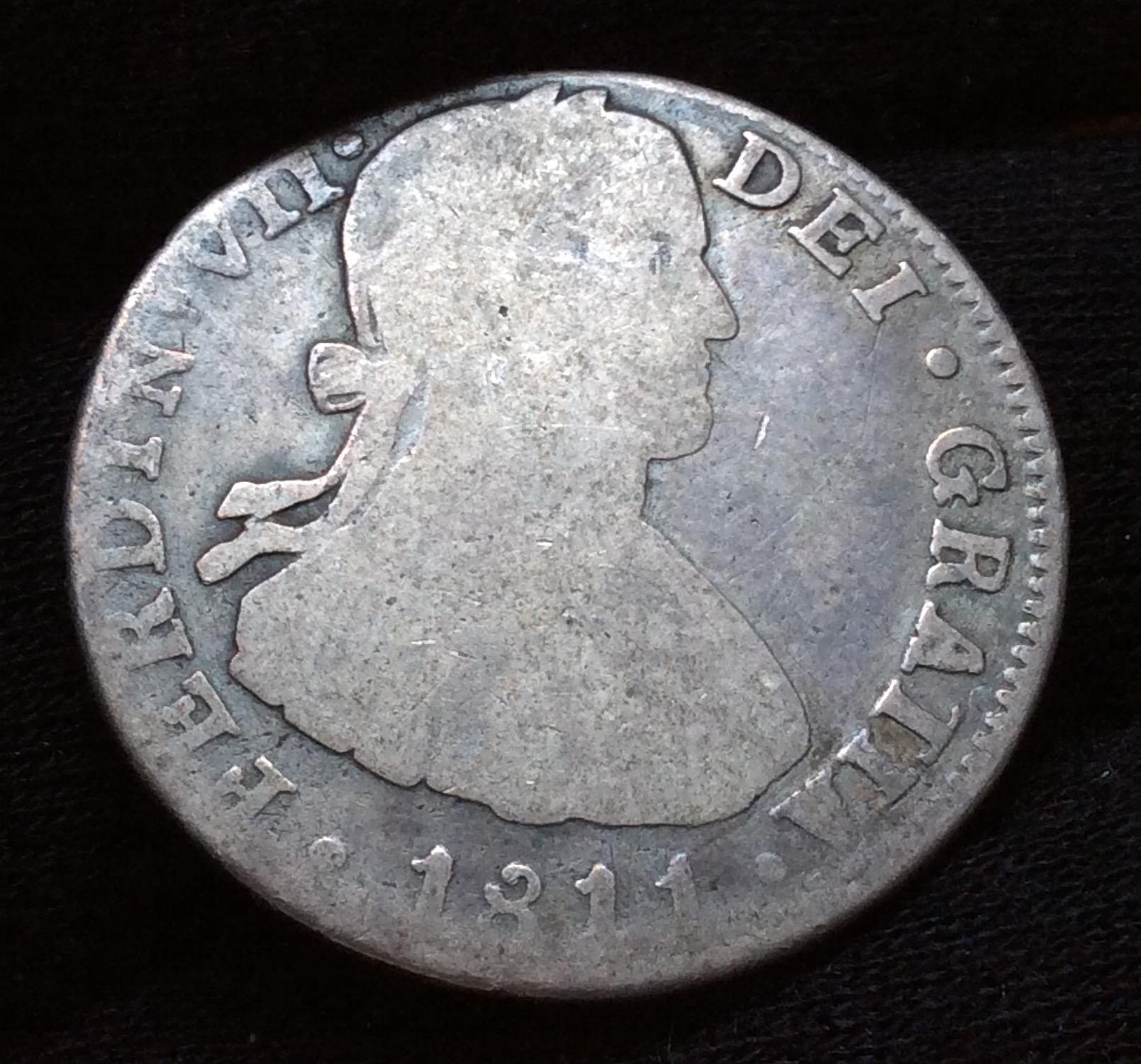 2 REALES 1811 - FERNANDO VII - BUSTO IMAGINARIO - MÉXICO