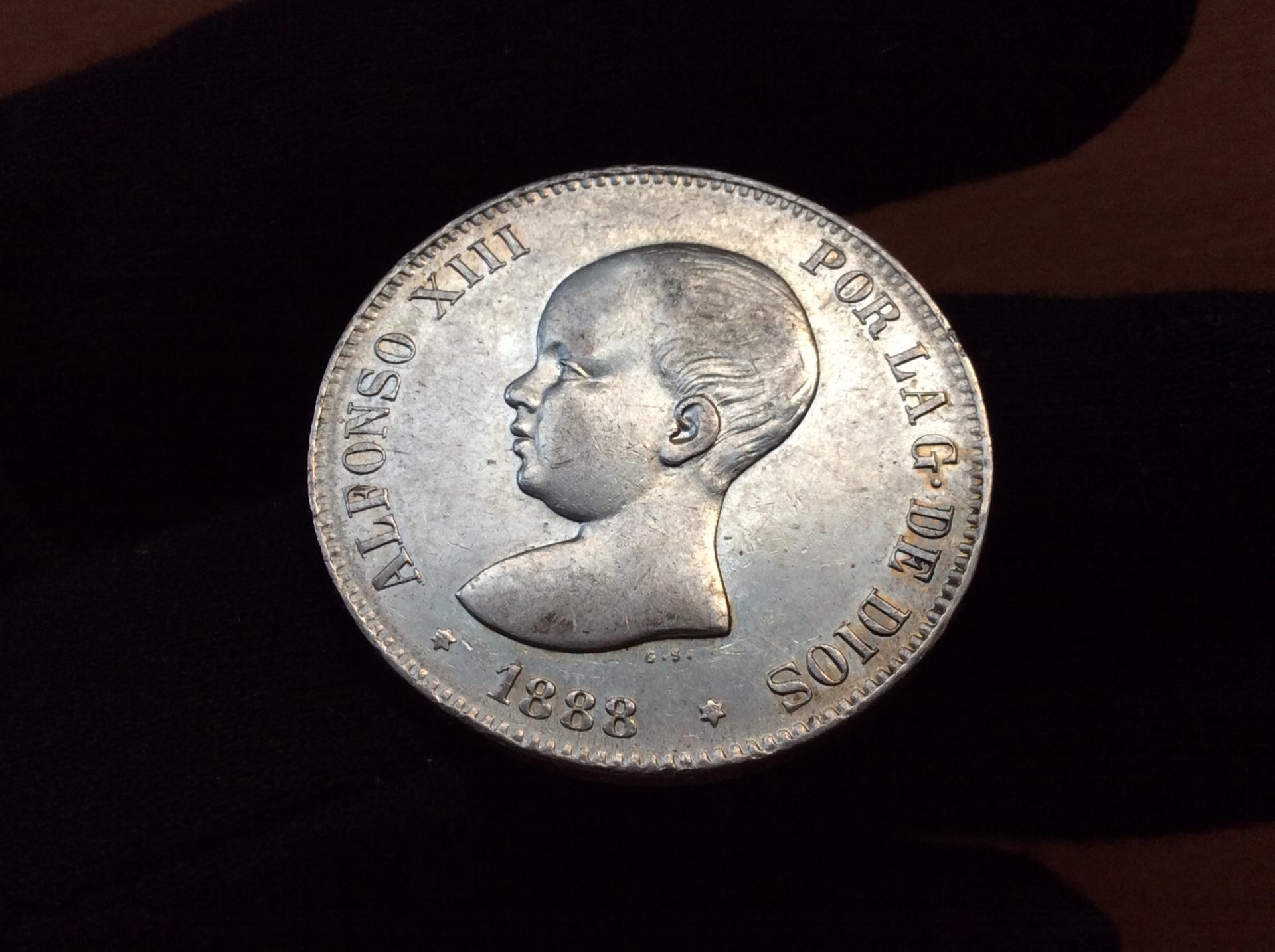 5 PESETAS PLATA 1888 - ALFONSO XIII - PELÓN - GRAN CALIDAD