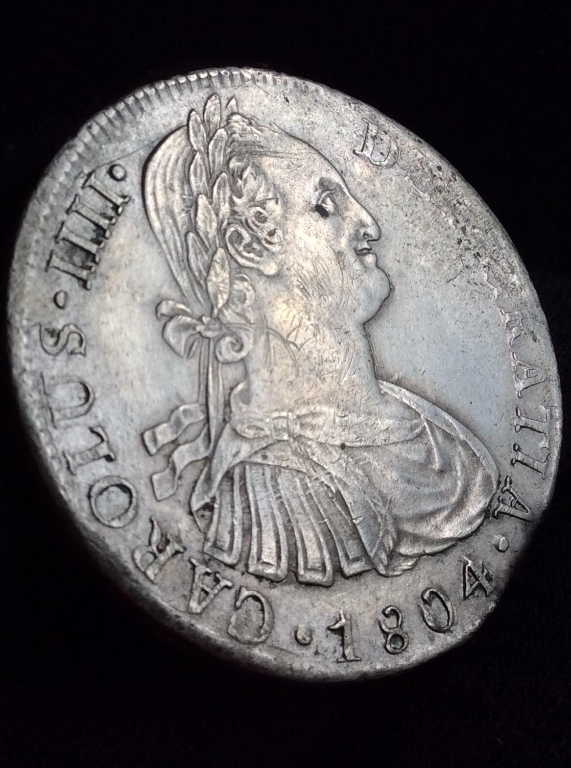 8 REALES PLATA 1804 - CARLOS IV - LIMA - GRANDES RELIEVES - PRECIOSA