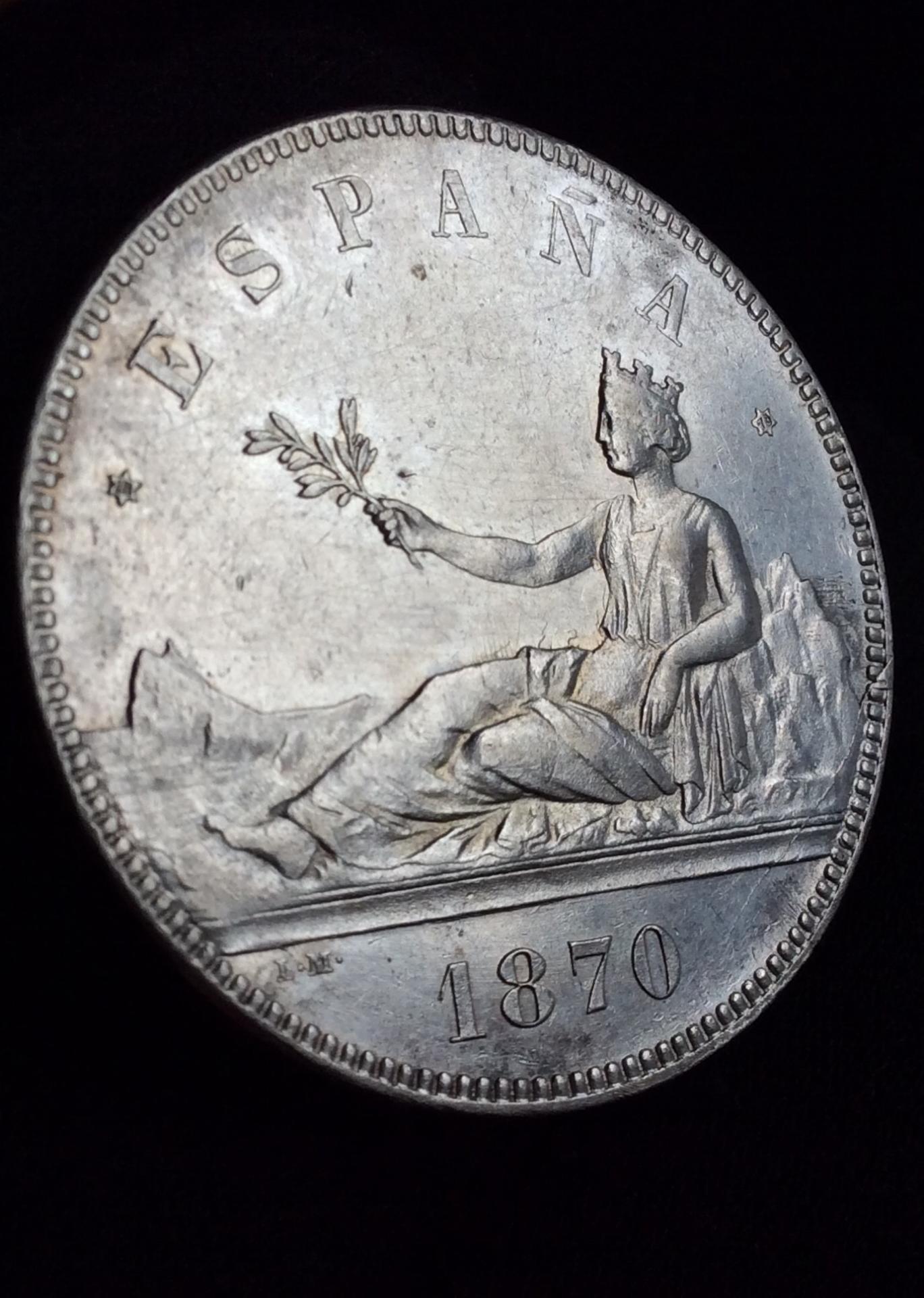 ESPECTACULARES 5 PESETAS 1870 - GOBIERNO PROVISIONAL