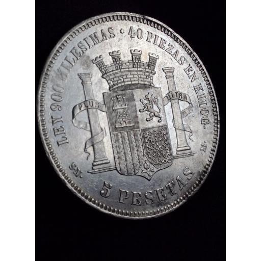 ESPECTACULARES 5 PESETAS 1870 - GOBIERNO PROVISIONAL  [1]