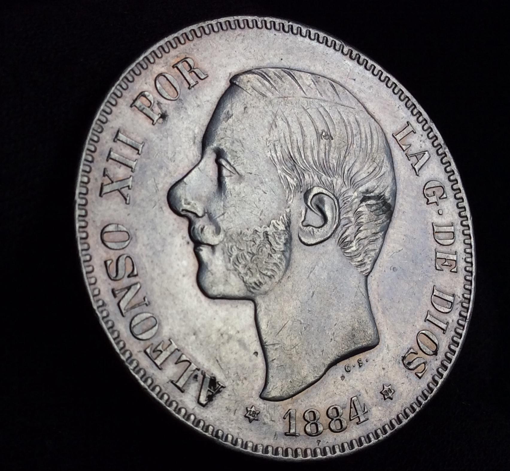PRECIOSAS   5 PESETAS PLATA 1884 - ALFONSO XII