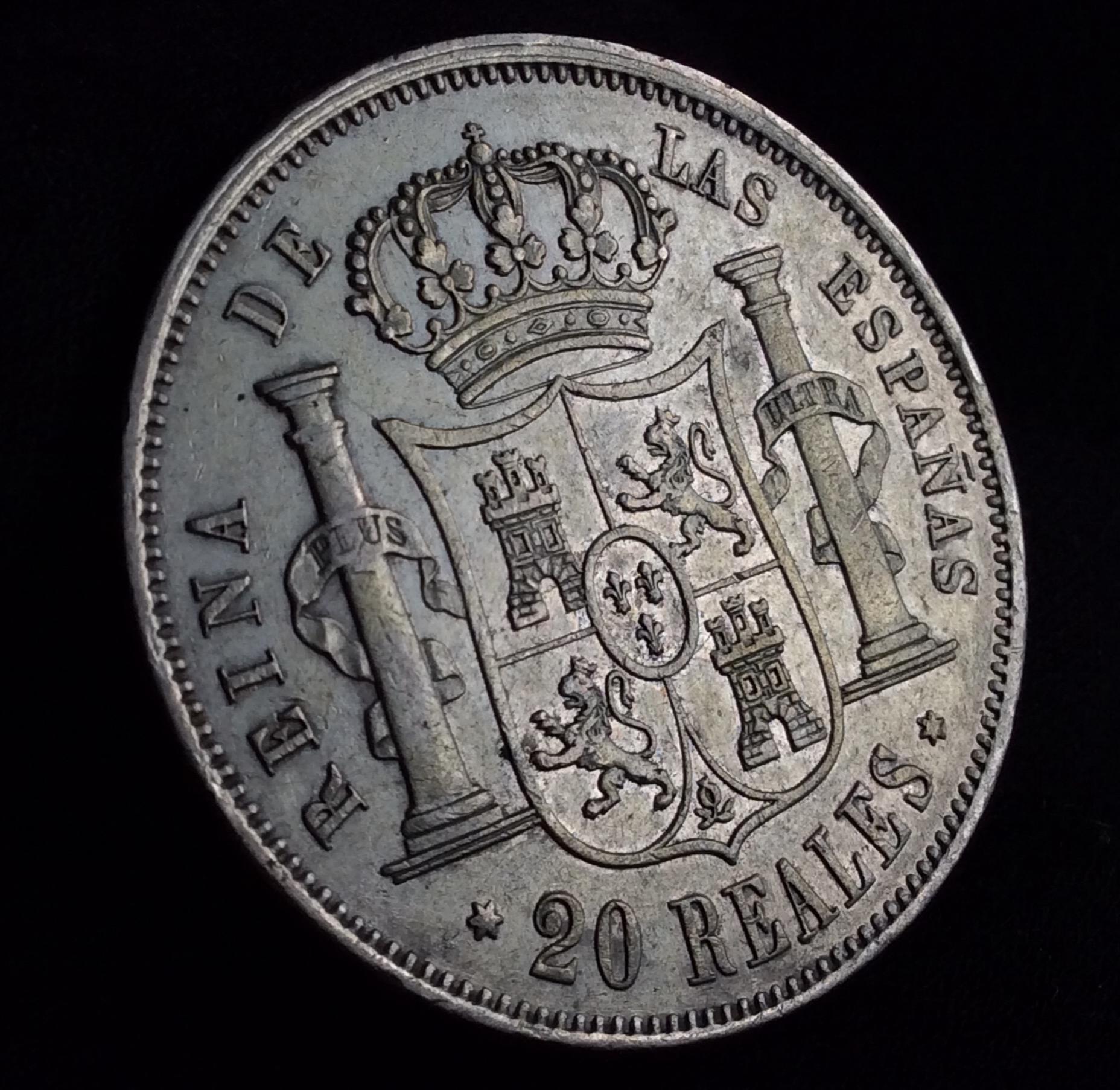 PRCIOSOS 20 REALES 1864 - ISABEL II - CECA DE MADRID