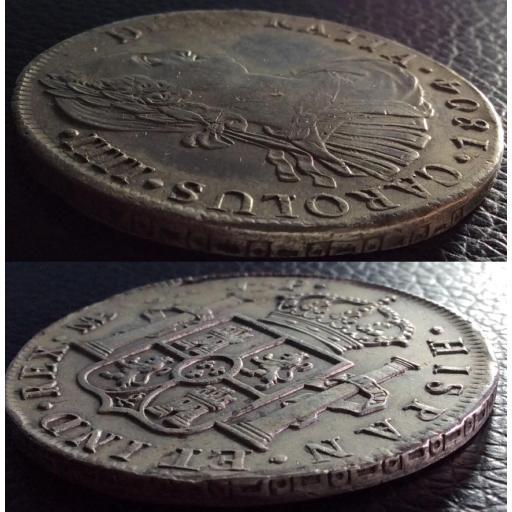 8 REALES PLATA 1804 - CARLOS IV - LIMA - GRANDES RELIEVES - PRECIOSA  [2]