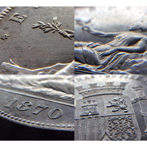 ESPECTACULARES 5 PESETAS 1870 - GOBIERNO PROVISIONAL  [2]