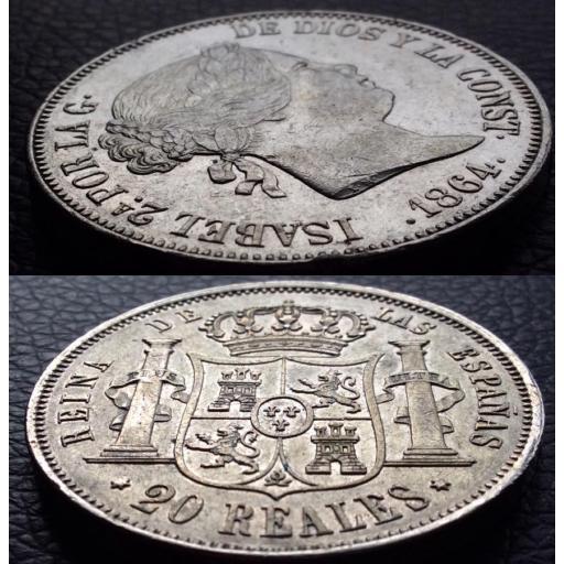 PRCIOSOS 20 REALES 1864 - ISABEL II - CECA DE MADRID  [3]