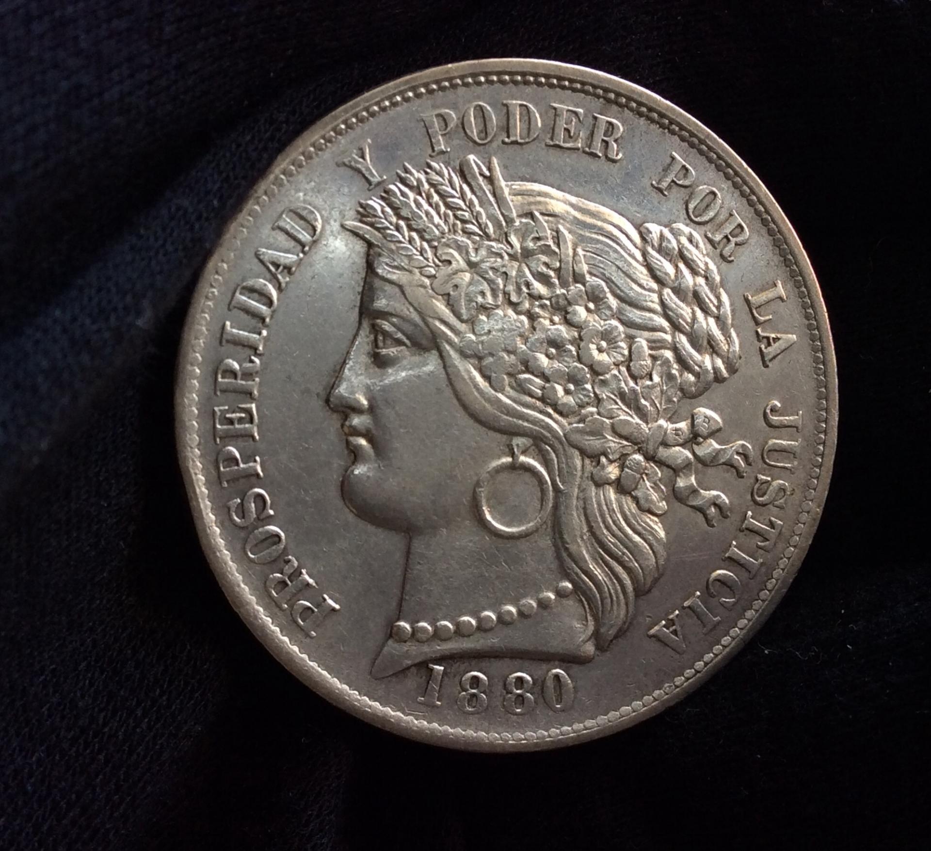 5 PESETAS PLATA 1880 - PERÚ