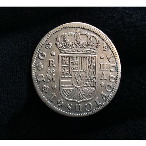 "ESCASOS 2 REALES 1724 - LUIS I - MADRID - ""LUDOVICUS I "" SOBRE ""PHILLIPUS V"""