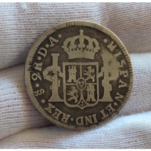 ESCASOS 2 REALES 1788 - CARLOS III - SANTIAGO