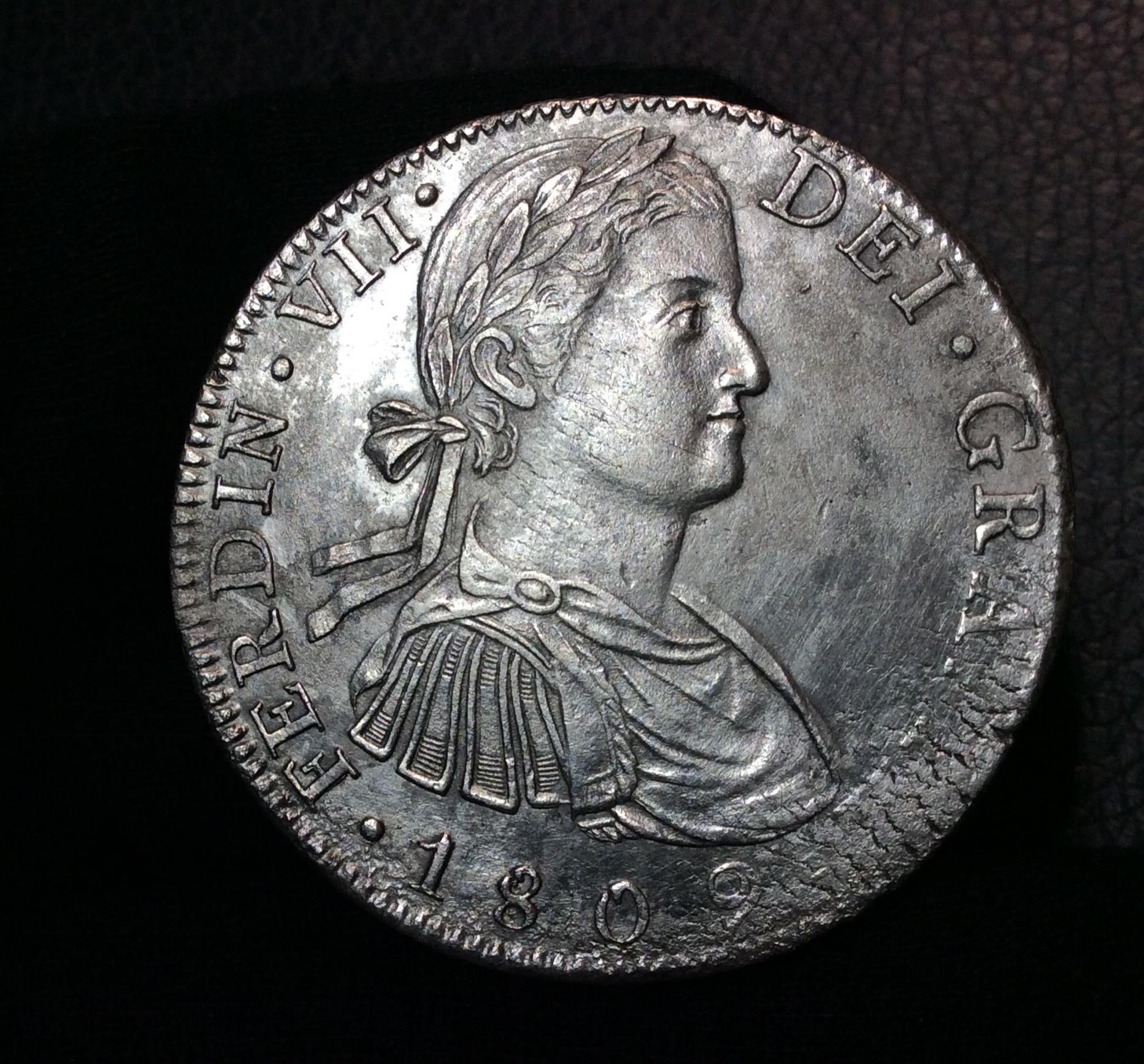 """8 REALES 1809 - BUSTO IMAGINARIO - MEXICO - FERNANDO VII - """"DÍGITOS DE FECHA SEPARADOS"""""""
