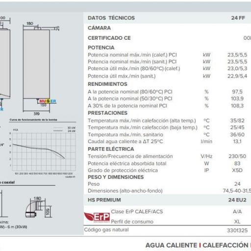 Caldera de condensación Ariston HS Premium 24+ termostato  chaffoteaux [2]