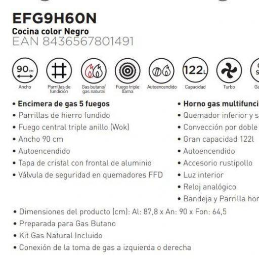 COCINA DE GAS EAS ELECTRIC 90X60CM HORNO DE 90CM RUSTICA NEGRA 5 FUEGOS WOK [1]