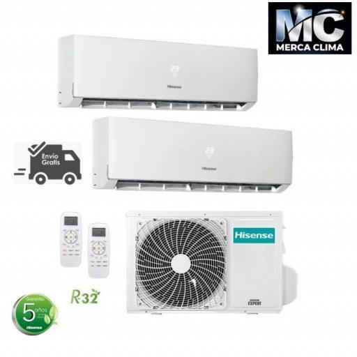 Hisense 2AMW42U4RRA + DJ25VE0AG + DJ25VE0AG wifi Aire Acondicionado 2x1