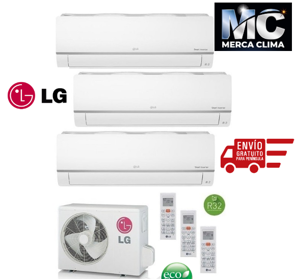 LG MU3R19 + P C09 SQ + PC 09 SQ + PC 09 SQ CONFORT CONNECT - Aire acondicionado 3X1