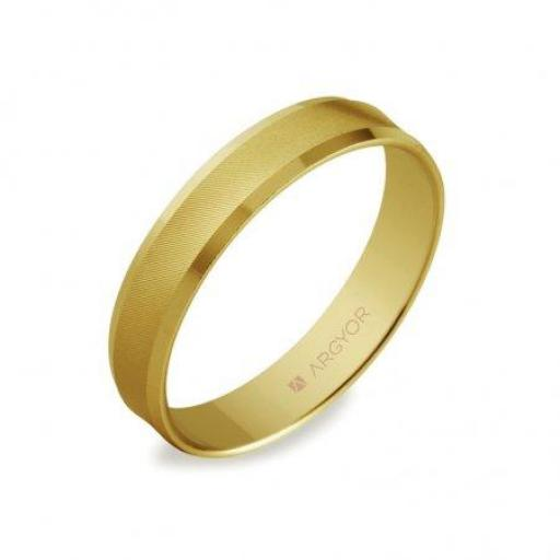 Alianza de boda Argyor 5140308 oro amarillo de 18 quilates cóncava  [0]