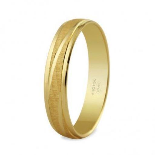 Alianza de boda Argyor en oro amarillo 9 Quilates acabado satinado