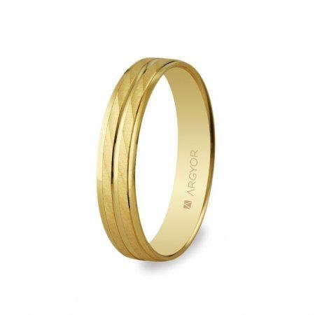 Alianza de boda Argyor de oro amarillo 9 Quilates diseño de dos bandas con diagonales