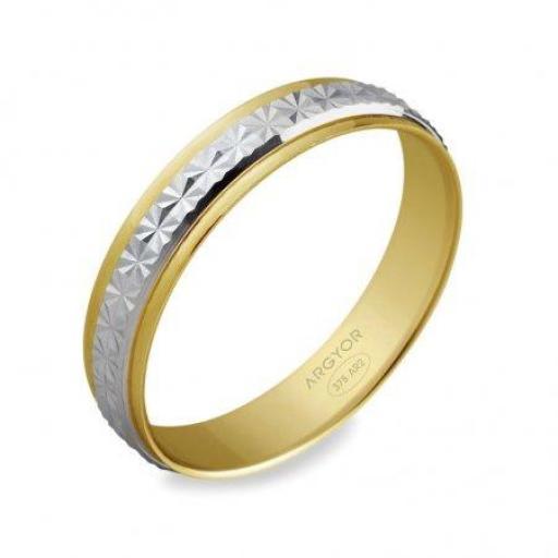 Alianza de boda de diseño original Argyor 9 Quilates ¡Bonitas y Baratas!