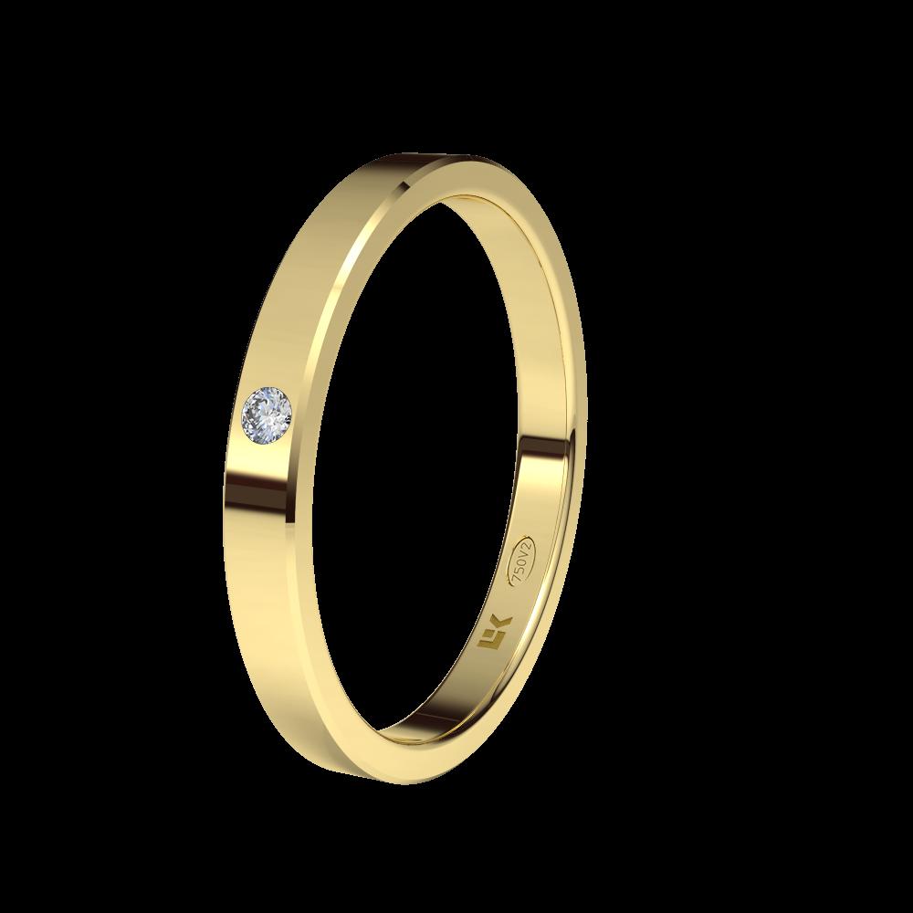 Alianza En Oro Amarillo 18 Quilates Con Diamante Modelo Cuadro ELEKA