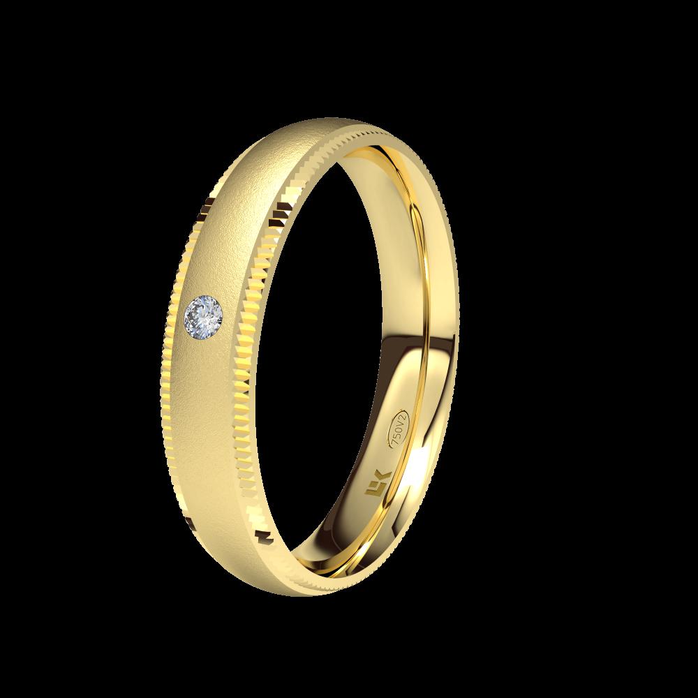 Alianza de Boda Oro Amarillo Con Diamante Modelo Isabel ELEKA