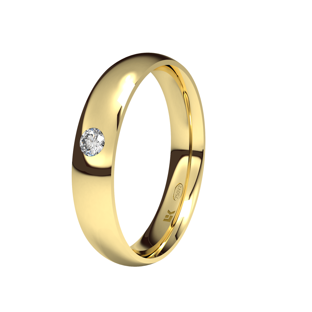 Alianza de compromiso en Oro 18 Quilates modelo Almendra con Brillante ELEKA