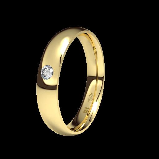 Alianza de compromiso en Oro 18 Quilates modelo Almendra con Brillante ELEKA [0]