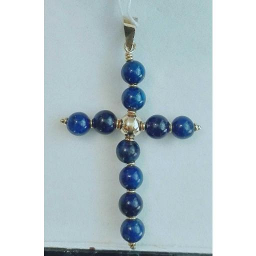 ¡Llévatela! Cruz De Oro Para Mujer Bolas Lapizlázuli